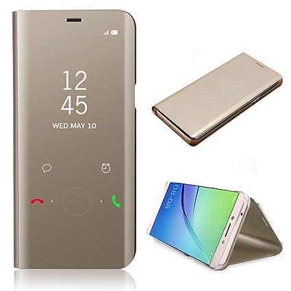 CrazyLemon Smart Hülle für Samsung Galaxy A5 2017 A520, Hybrid Galvanisiert Klar Aussicht Spiegel PU Leder Flip Hülle + PC Ba