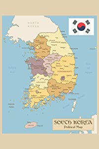 Republic of Korea or South Korea Vintage Political Map with Flag Cool Wall Decor Art Print Poster 24x36