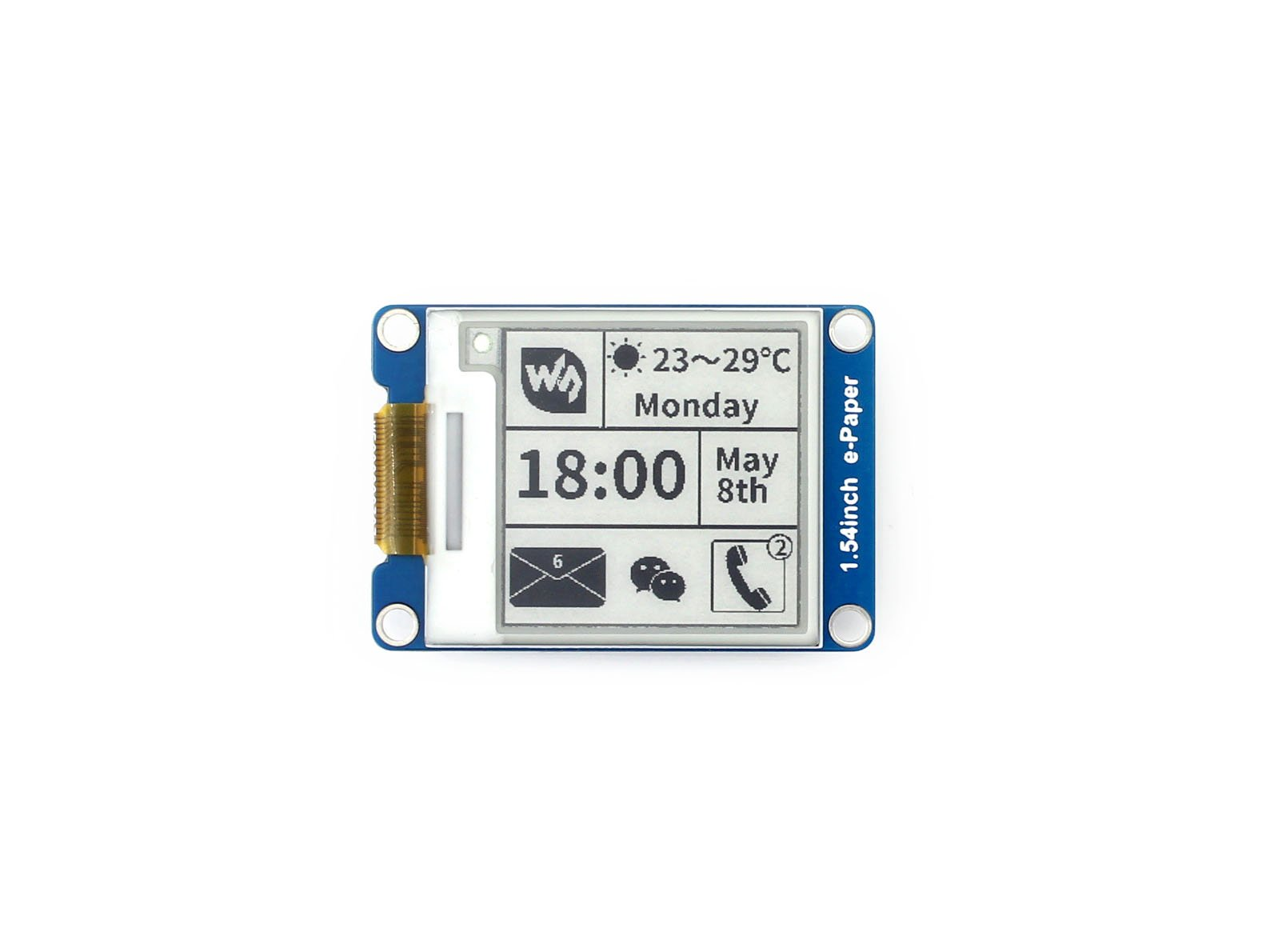 200x200, 1.54inch E-Ink display module,1.54inch e-Paper,SPI interface,Supports partial refresh