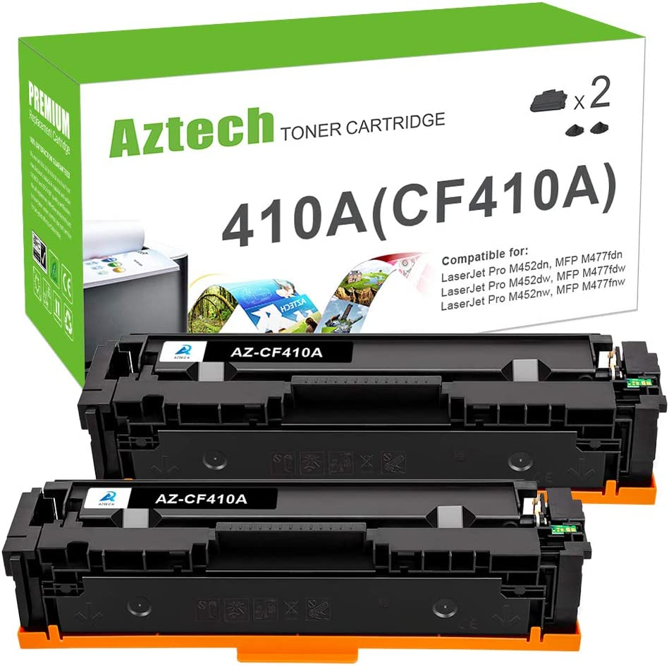 Aztech Compatible Toner Cartridge Replacement for HP 410A CF410A 410X CF410X (Black, 2-Packs)