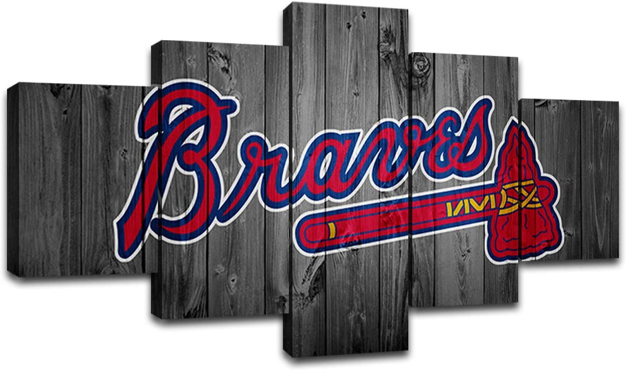 MIAUEN Wall Decor Atlanta Braves Posters Canvas Art Prints Baseball Team Wall Picture Decoration Paintings Framed Ready to Hang(60''Wx32''H)