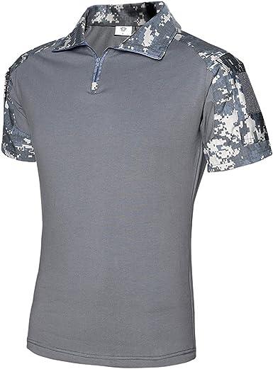 QCHWNG – Camiseta militar táctica de combate de caza de manga corta para airsoft BDU de camuflaje al aire libre Camuflaje Camisa táctica uniforme ropa para hombres multicolor: Amazon.es: Ropa y accesorios