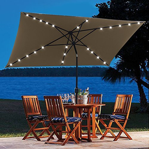 10' x 6.5' Outdoor Solar Powered 26 LED Lighted Patio Table Umbrella with Push Button Tilt Adjustment and Crank System 6 Rib 10 ft Solar Led Lights Steel Deluxe Market Umbrella High-quality Fabric Tan