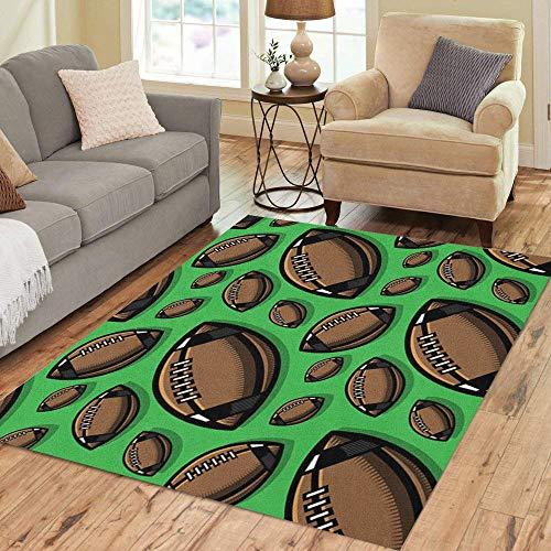 Semtomn Area Rug 5' X 7' Brown America American Football Athletics Ball Bowl Catch Closeup Home Decor Collection Floor Rugs Carpet for Living Room Bedroom Dining Room