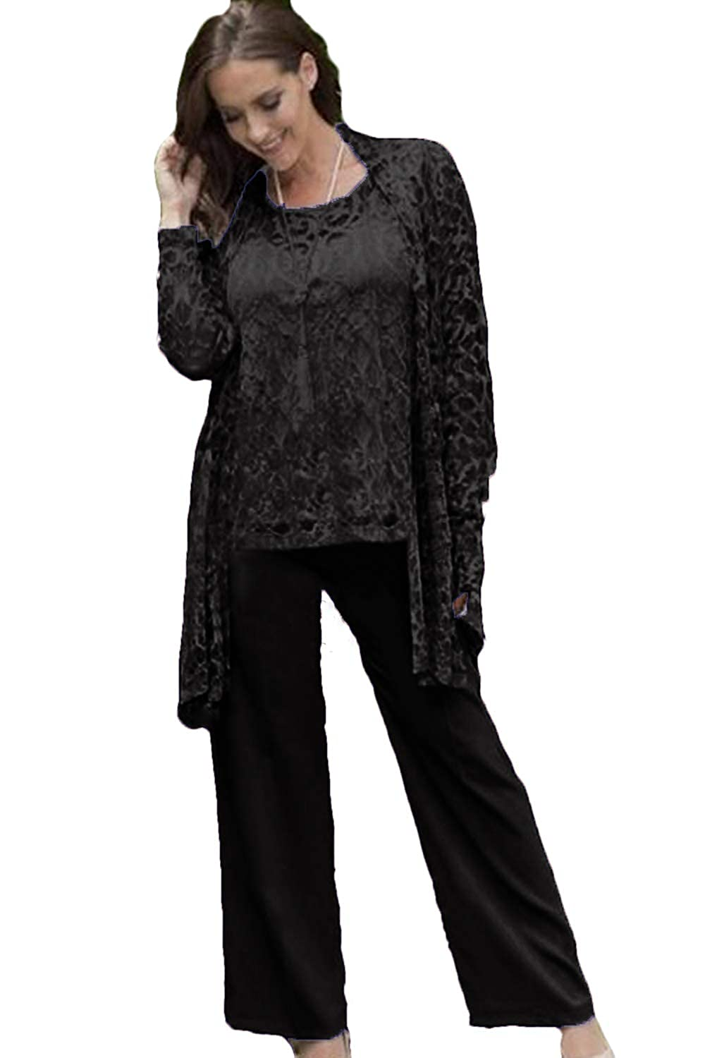 393964f63ef WZW Lace Mother of The Bride Pant Suits with Jackets Wedding Guest Dress  Plus Size Chiffon Mothers Groom at Amazon Women s Clothing store