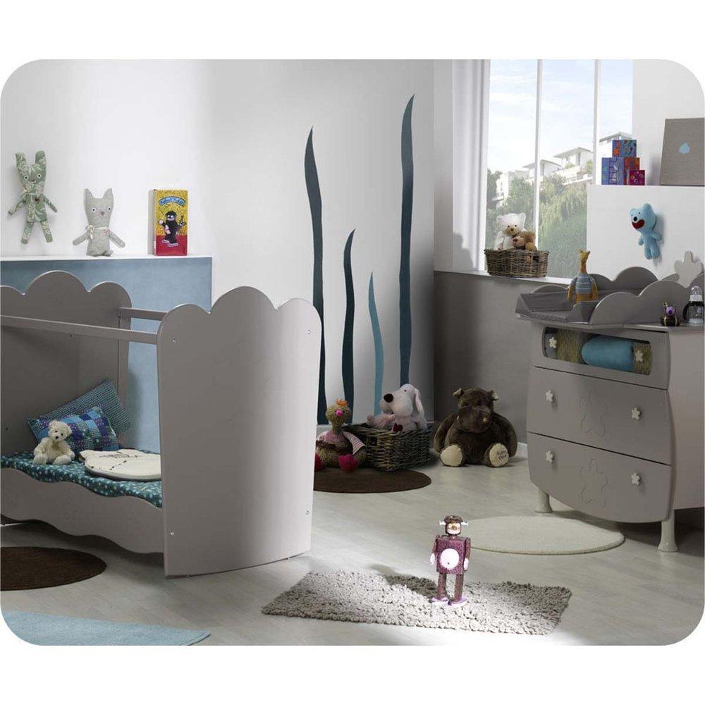 Mini Babyzimmer Linea Lein Sand mit Babybett mit durchsichtigen Seiten