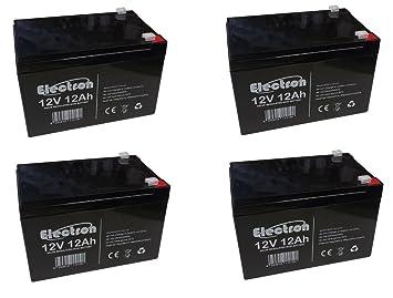 Kit 4 x batería de plomo Ciclica 12 V 12 Ah recargable para ...