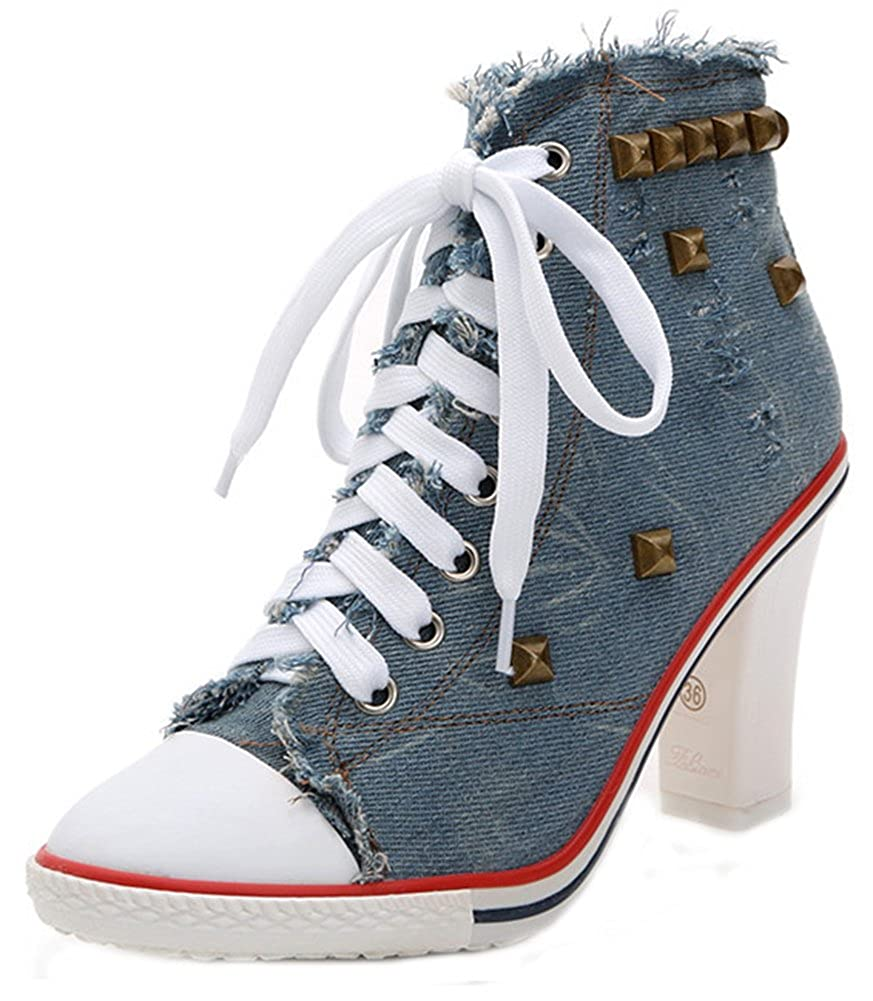 Women's Stylish Denim Fray Studded Rivets Pointed Toe Pointy High Heel Lace up Ankle Boots