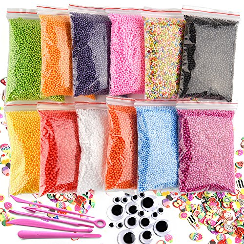 Kuuqa 12 Packs Slime Foam Beads Micro Polystyrene Styrofoam Balls with Tools and Fruit Slime for Slime Making Craft Supplies Slime Party Decorations 0.08-0.15 Inch(Contain No Slime) -