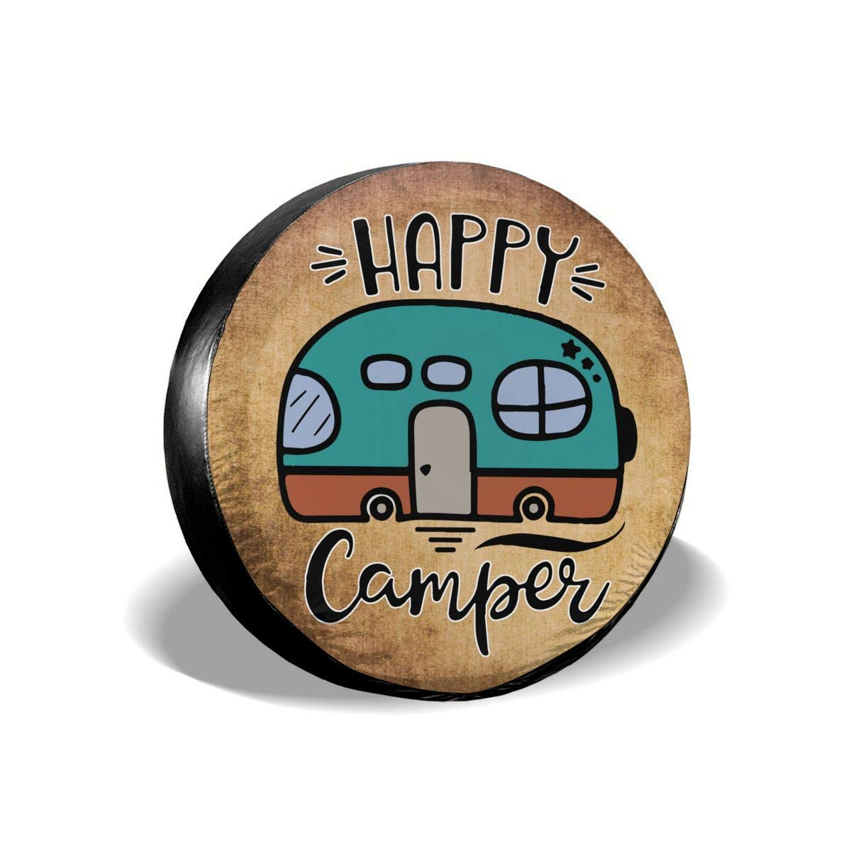 RV Happy Camping Buffalo Plaid Spare Wheel Tire Cover Waterproof Dust-Proof Fit for Trailer SUV and Many Vehicle 14 15 16 17
