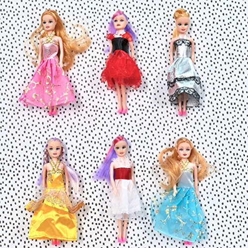 Butterfly Craze Miniature Doll Play-Set Bundle Princess Fashion Clothes Accessories. Great Birthday Party Favors, Tea Parties Dollhouses. 6 Tall (6 Doll Set)