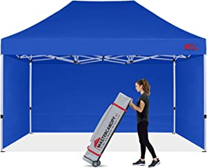 MASTERCANOPY Ez Pop-up Canopy Tent 10x15 Commercial Instant Canopies with 4 Removable Side Walls and Roller Bag, Bonus 4 SandBags(10x15ft,Blue)