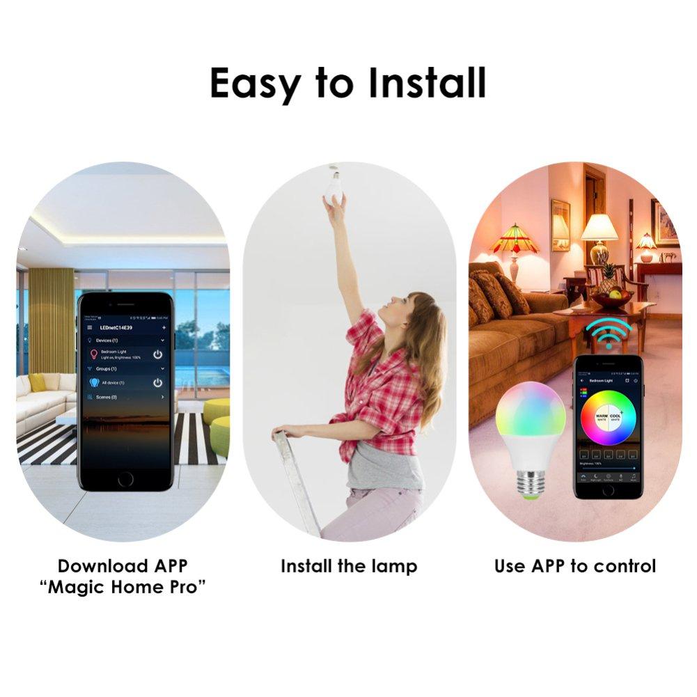 Ampoule LED intelligente WiFi 4,5 W RGBW couleur r/éveil E27 Dimmable Ampoule Connect  Alexa Google Fit Apple Android