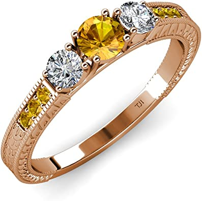 Round Cut Citrine 14K Rose Gold Plated Engagement Weddings Mens Three Stone Band Ring