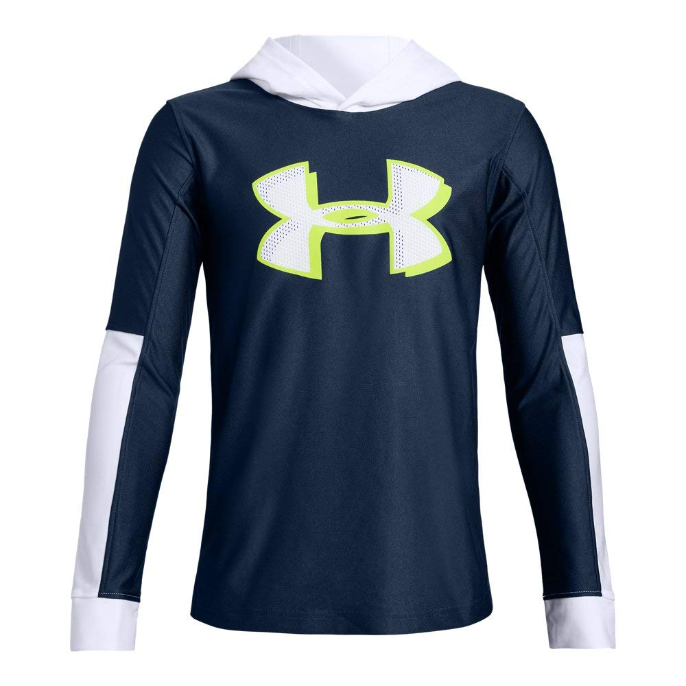 Under Armour  Boys'Tech Hoodie, Academy//White, Youth Medium