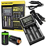 Nitecore D2 smart Charger 2015 version with LCD display For Li-ion, IMR Rechargeable Batteries Bundle with Ac and 12V DC Car power cords, 2 EdisonBright AA to D type Battery Converters
