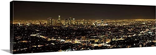 Aerial View of a Cityscape Los Angeles California Canvas Wall Art Print