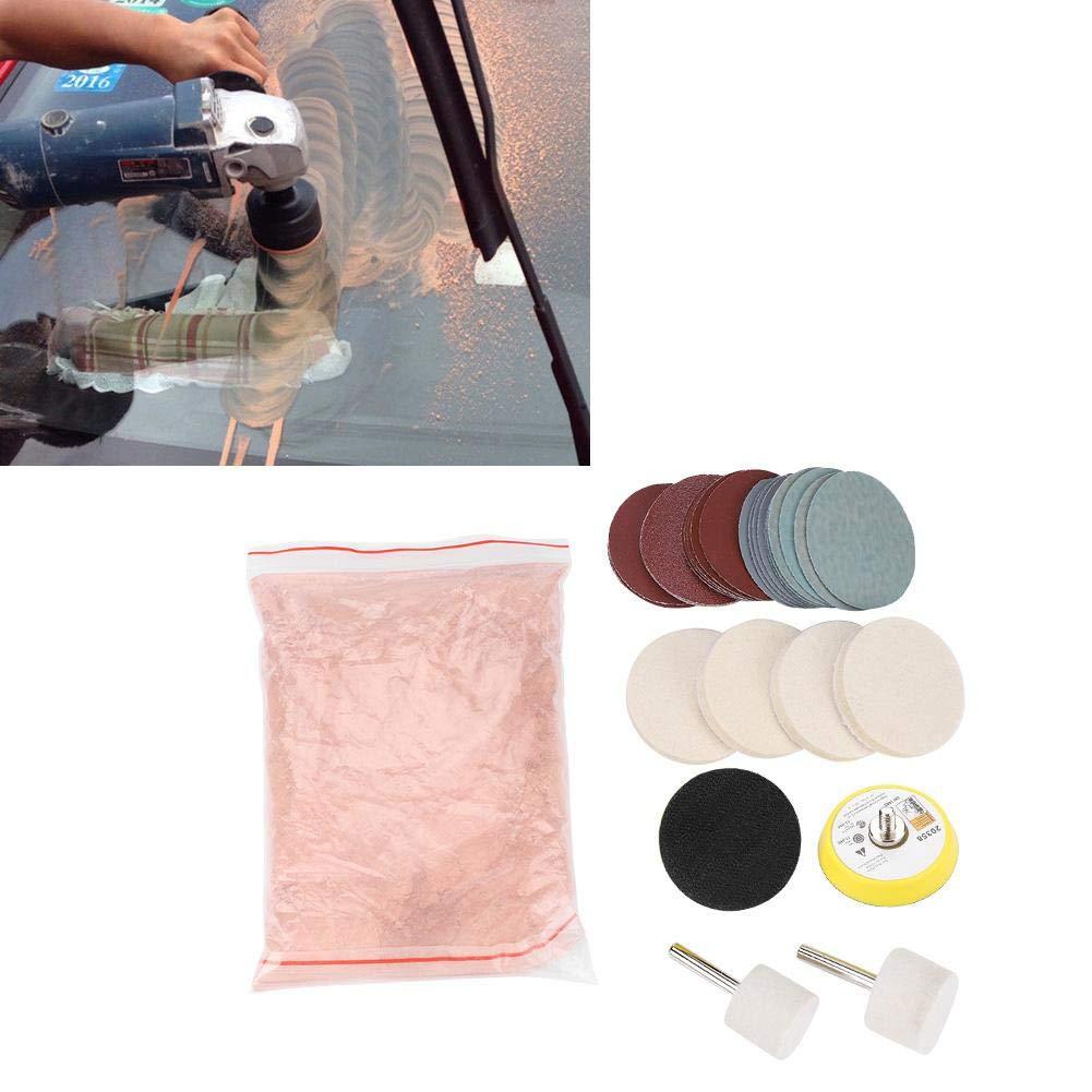 Set di rimozione graffi per kit di lucidatura vetro 34 pezzi set di ruote in feltro per lucidare polvere di ossido di cerio per parabrezza e vetro