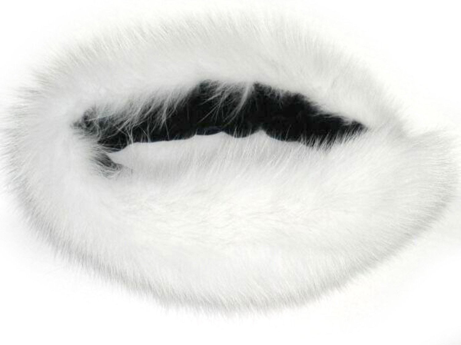 5-5.5 inches Wide White/Off-White Fox Funnel Collar & Oversize Neck Warmer Loop
