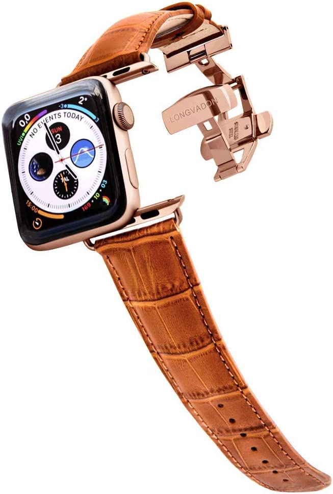 Longvadon Men's Caiman Series Watch Band - Compatible with Apple Watch 42MM (Series 1-3) & 44MM (Series 4-6) - Genuine Top Grain Leather - Whiskey Brown with Gold Details - M Size