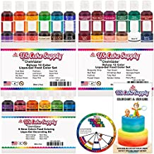 30 Color Cake Food Coloring Liqua-Gel Decorating Baking Ultimate Set - Primary, Secondary and Neon Colors - U.S. Cake Supply 0.75 fl. oz. (20ml) Bottles
