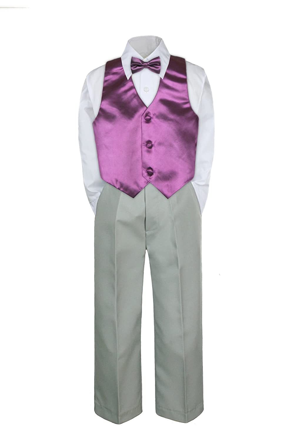 0-6 months S: 4pc Formal Baby Teen Boy Lime Green Vest Necktie Silver Pants Suit S-7