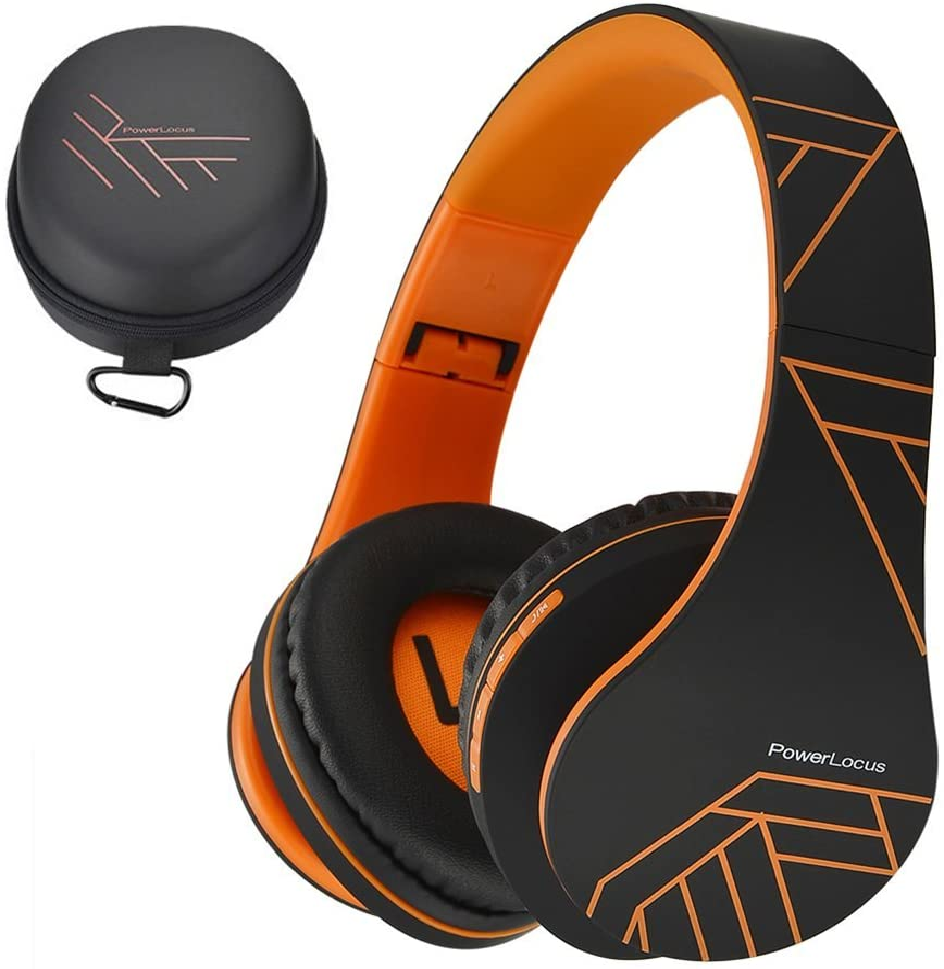 PowerLocus P2 – Auriculares Bluetooth inalambricos de Diadema Cascos Plegables, Casco Bluetooth con Sonido Estéreo Micro SD/TF, FM con micrófono y Audio Cable para Movil, PC, Tablet - Naranja