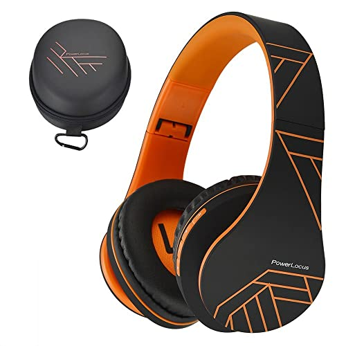 PowerLocus Bluetooth Over-Ear Headphones, Wireless Stereo Foldable Headphones Wireless and Wired Headsets with Built-in Mic, Micro SD/TF, FM for iPhone/Samsung/iPad/PC - Black/Orange