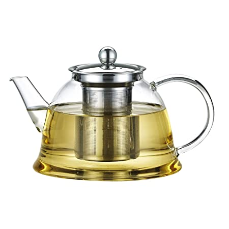 Zhhlaixing Fashion Heat Resistant Clear Glass Teapot,Stainless Steel Infuser F180B