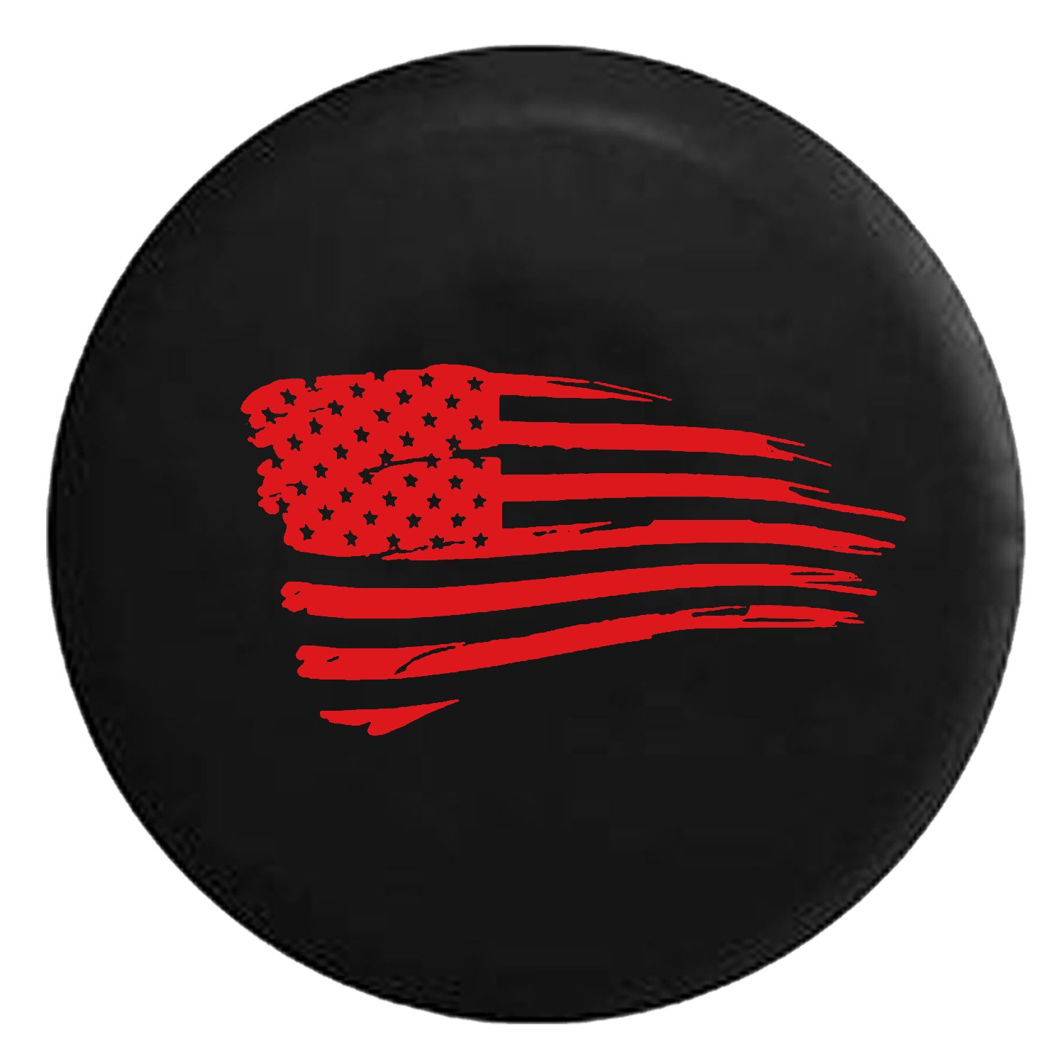 Waving American Tattered Flag Military Spare Jeep Wrangler Camper SUV Tire Cover Red Ink 33 in