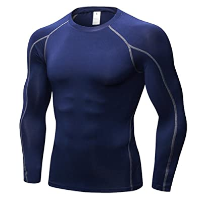Kingswell Men's Compression Athletic Muscle Long Sleeve T-Shirts Tank Top