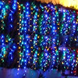 3Mx3M 300 LED Outdoor String Light Curtain Light for Christmas Xmas Wedding Party Home Decoration-US Warm White Multicolor