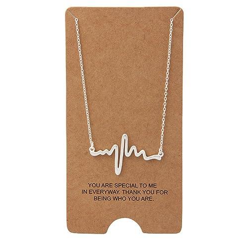 wristchie 925Sterling Silber Lifeline Pulse Anhänger Herzschlag Charm Halskette 45,7cm