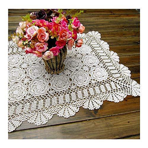 Laivigo Handmade Crochet Lace Rectangle Lucky Flower Table Cloth Runner Doilies Doily,White,20x35 Inch