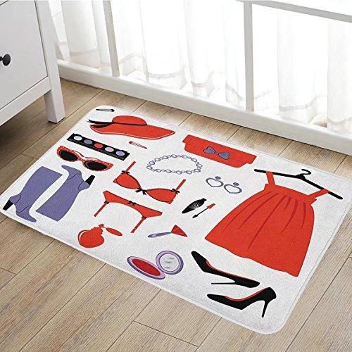 Heels and Dresses bath mats for floors Glamor Items for Women Attire Sunglasses Lingerie Cosmetics door mat indoors Bathroom Mats Non Slip 20