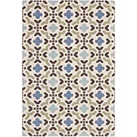 Safavieh Veranda Collection VER080-0612 Indoor/ Outdoor Cream and Aqua Contemporary Area Rug (53 x 77)