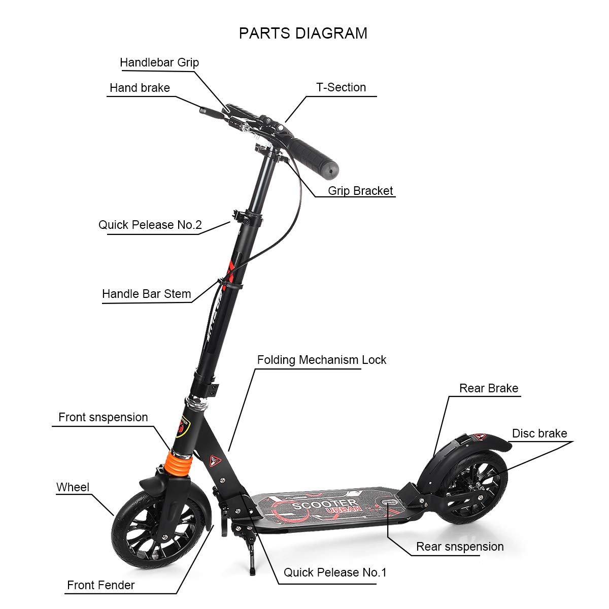 goplus adult kick scooter with handbrake dual suspension folding glider  with deluxe aluminum 2 big rubber wheels, adjustable height, supports  220lbs