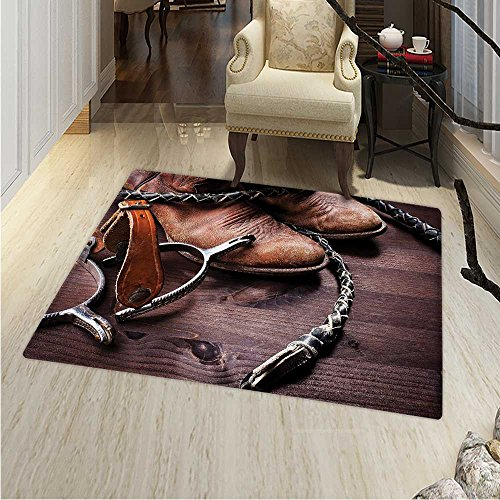 Western Area Rug Carpet Authentic Old Leather Boots Spurs Rustic Rodeo Equipment USA Style Art Picture Print Living Dining Room Bedroom Hallway Office Carpet 3'x5' Brown