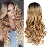 26 Full Ombre Wigs Body Wave Long Synthetic Hair Heat Resistant Black To Brown Blonde Cosplay Wigs For Women1BBlonded