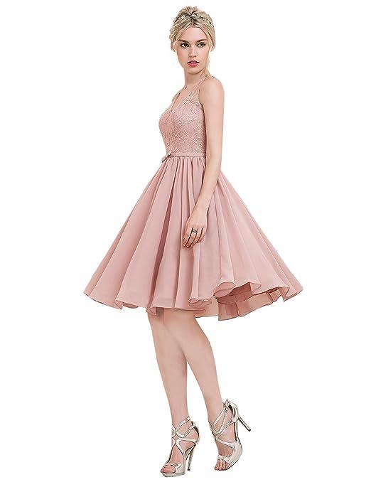 5941801a9d2 Erosebridal Princess-Linie V-Ausschnitt Knielang Chiffon Lace  Brautjungfernkleid mit Schleife DE 56W Lavendel  Amazon.de  Bekleidung