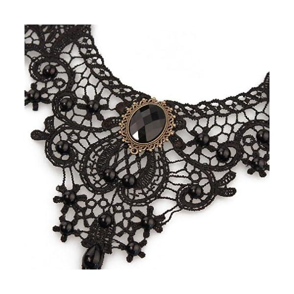 MEiySH Black Lace Gothic Lolita Pendant Choker Necklace Earrings Set 4