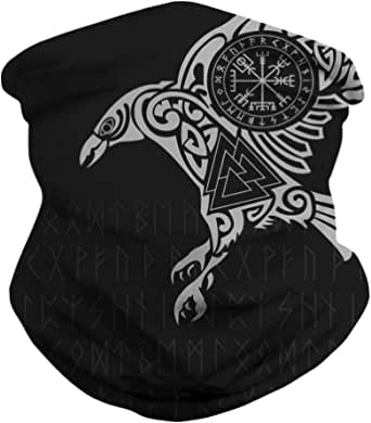 DUOLIFU Cool Skull Face Bandanas Sports & Casual Headwear Viking Print Neck Gaiter, Headwrap, Balaclava, Helmet Liner