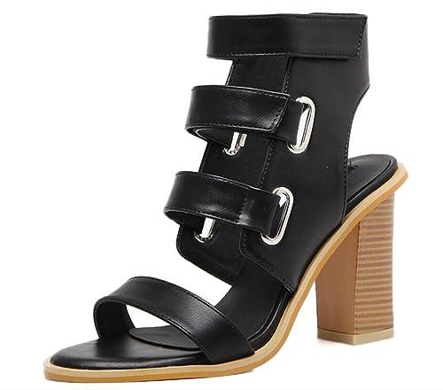 bd4db3470a5a3 LINYI Women Chunky Heel Belt Buckle Open-Toe Sandals Hollow Shoes ...