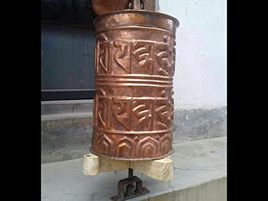 Large temple style Buddha of Compassion Copper Prayer Wheel