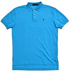 Polo Ralph Lauren Mens Classic-Fit Mesh Short sleeve Polo (X-Small, Blue Red Pony)