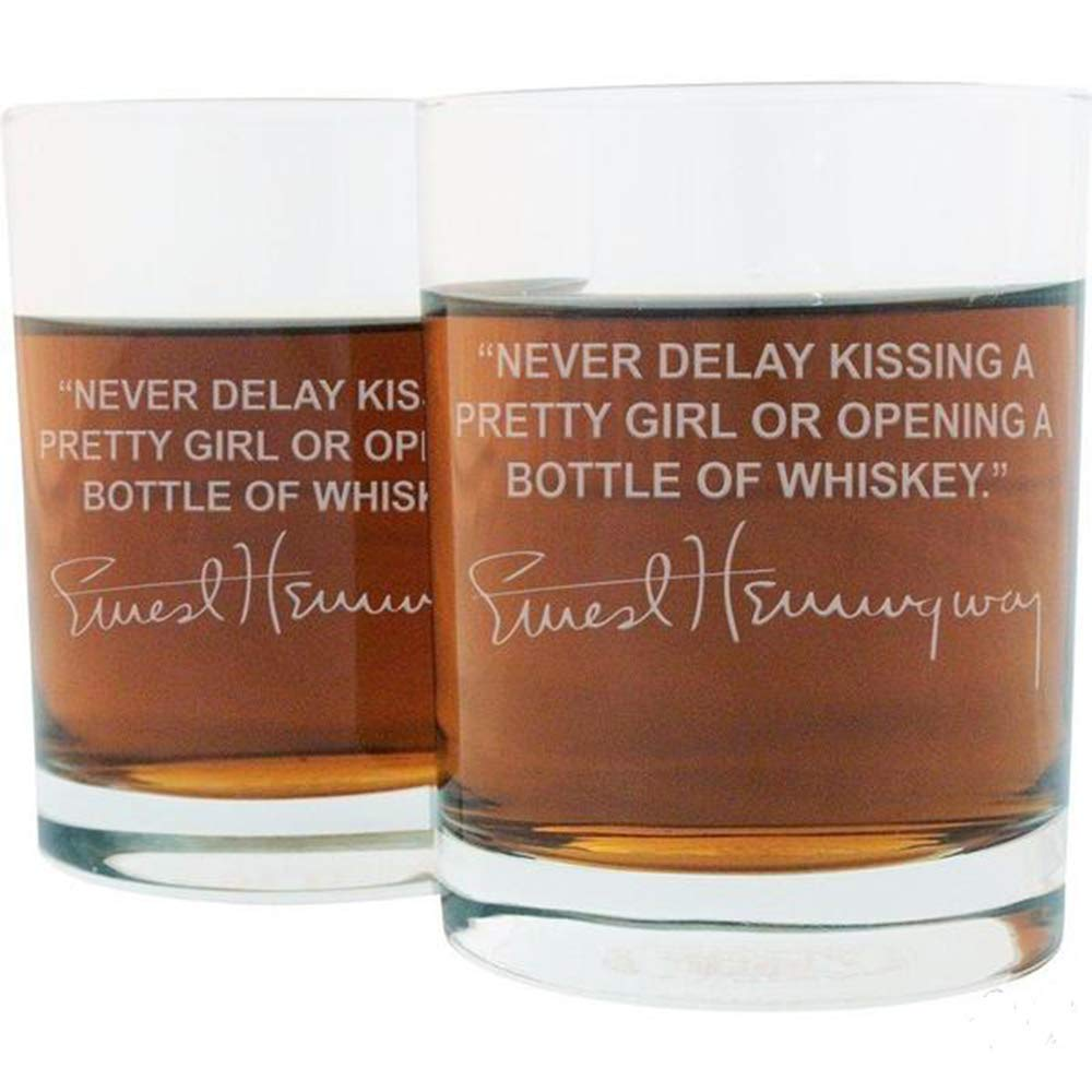 Ernest Hemmingway Famous Quote Whiskey Glass Set