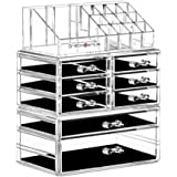 DreamGenius Makeup Organizer 3 Pieces Acrylic Cosmetic Storage Drawers and Jewelry Display Box Transparent