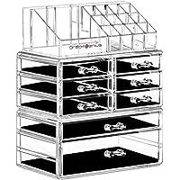 DreamGenius Makeup Organizer 3 Pieces Acrylic Cosmetic Storage Drawers and Jewelry Display Box Transparent