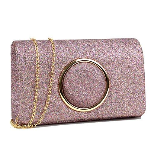 Wedding Womens Evening Chain Crossbody Clutch Frosted Bag Handbag w Pink Strap DASEIN Purse Glitter aYwPYx