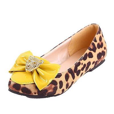 AgooLar Femme à Talon Bas Leopard Tire Chaussures Légeres